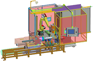 Robotic Welding Cell with Twin Station Head and Tailstocks
